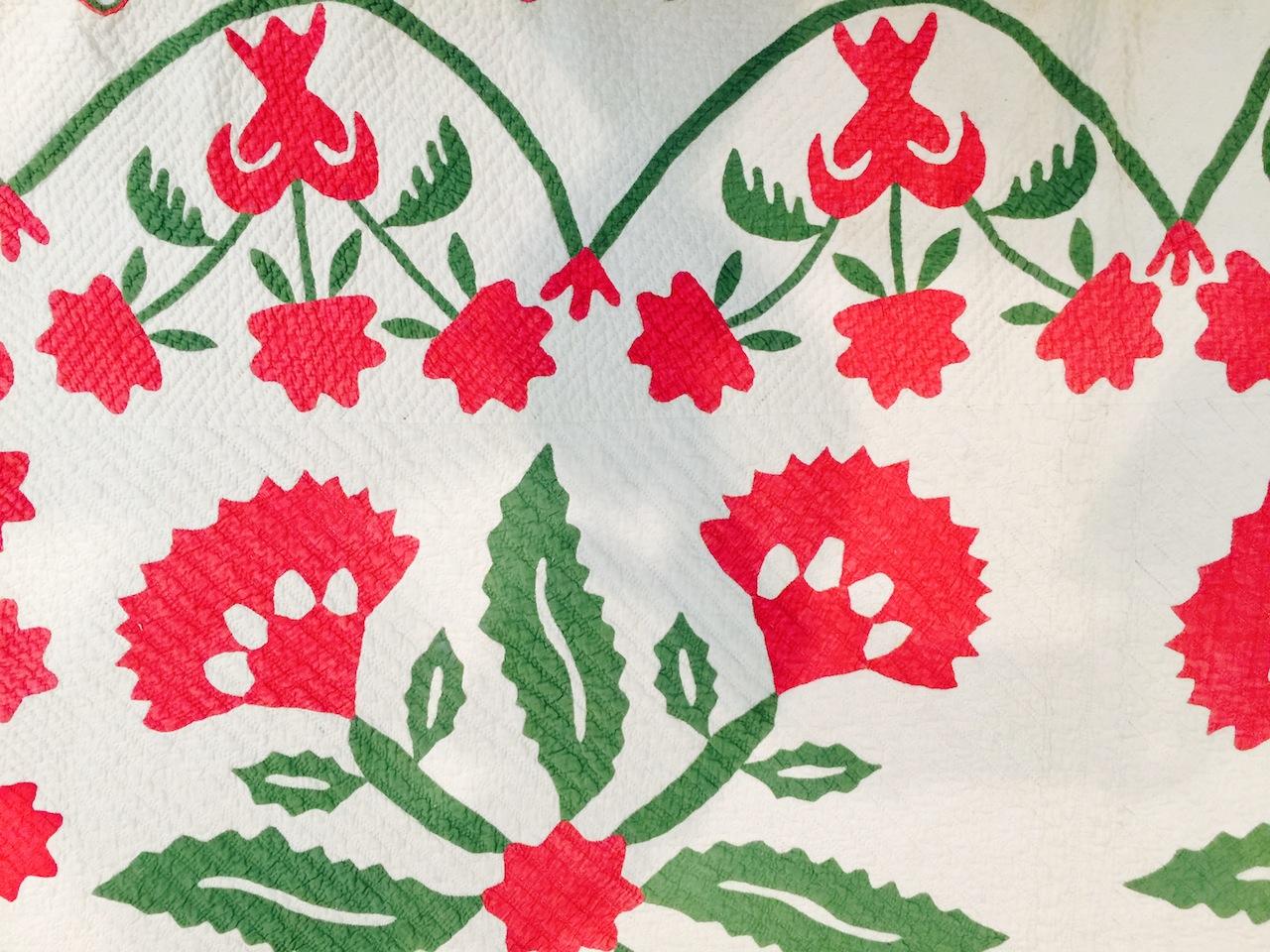 detail of Coxcomb Flower quilt by unknown artist (1859)