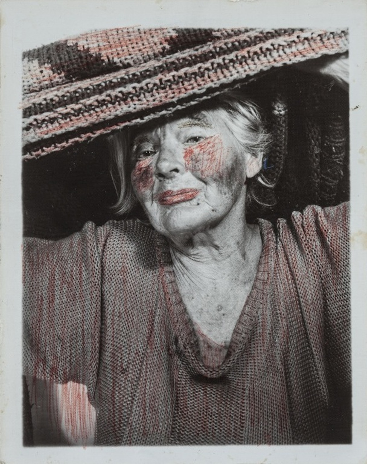 Lee Godie, untitled, n.d., gelatin silver print and ink,15 ½ x 14 ¼ in (all images courtesy of John Michael Kohler Arts Center)