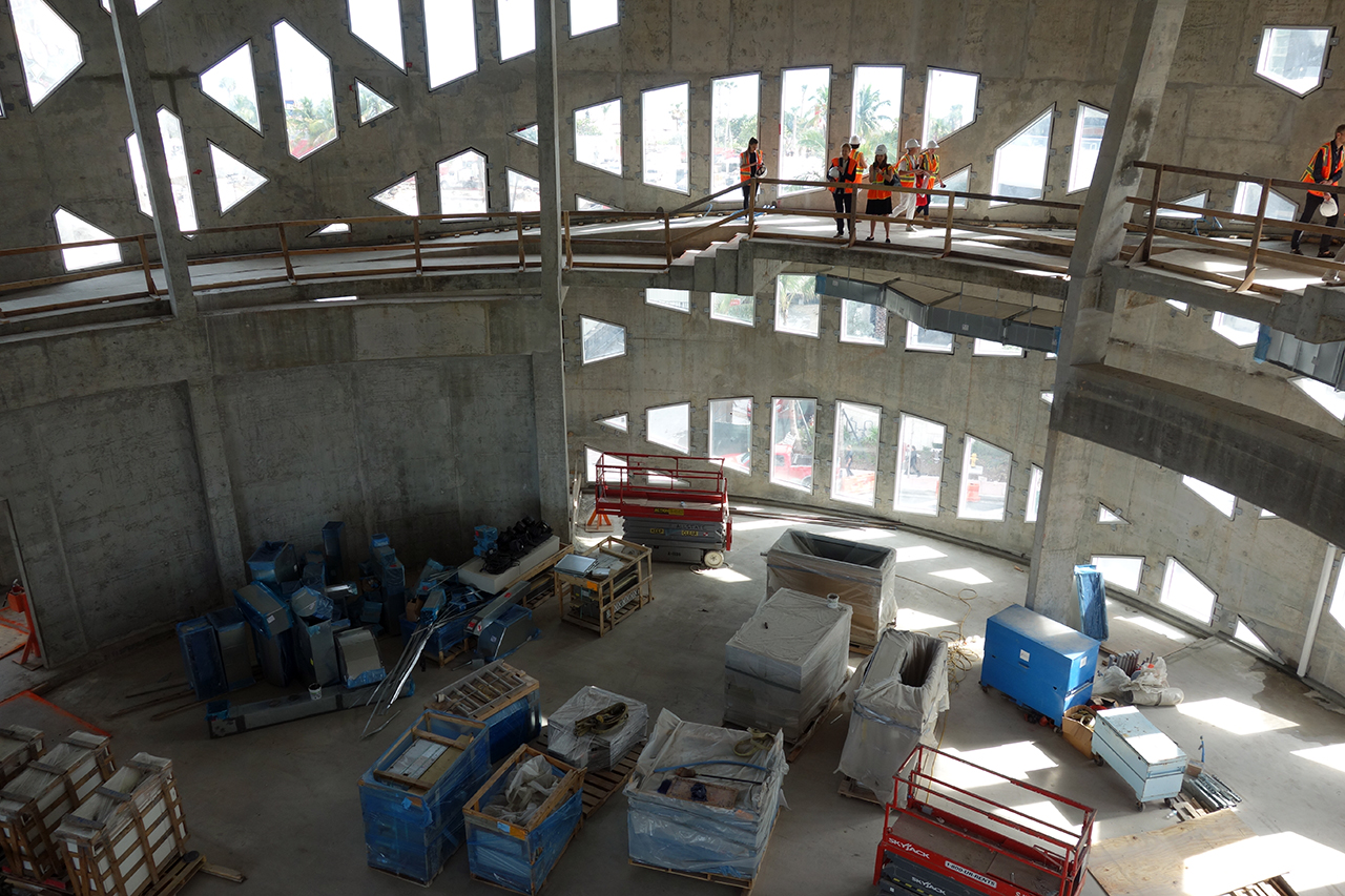 Inside the under-construction Faena Forum in Miami Beach, designed by Rem Koolhaas and OMA