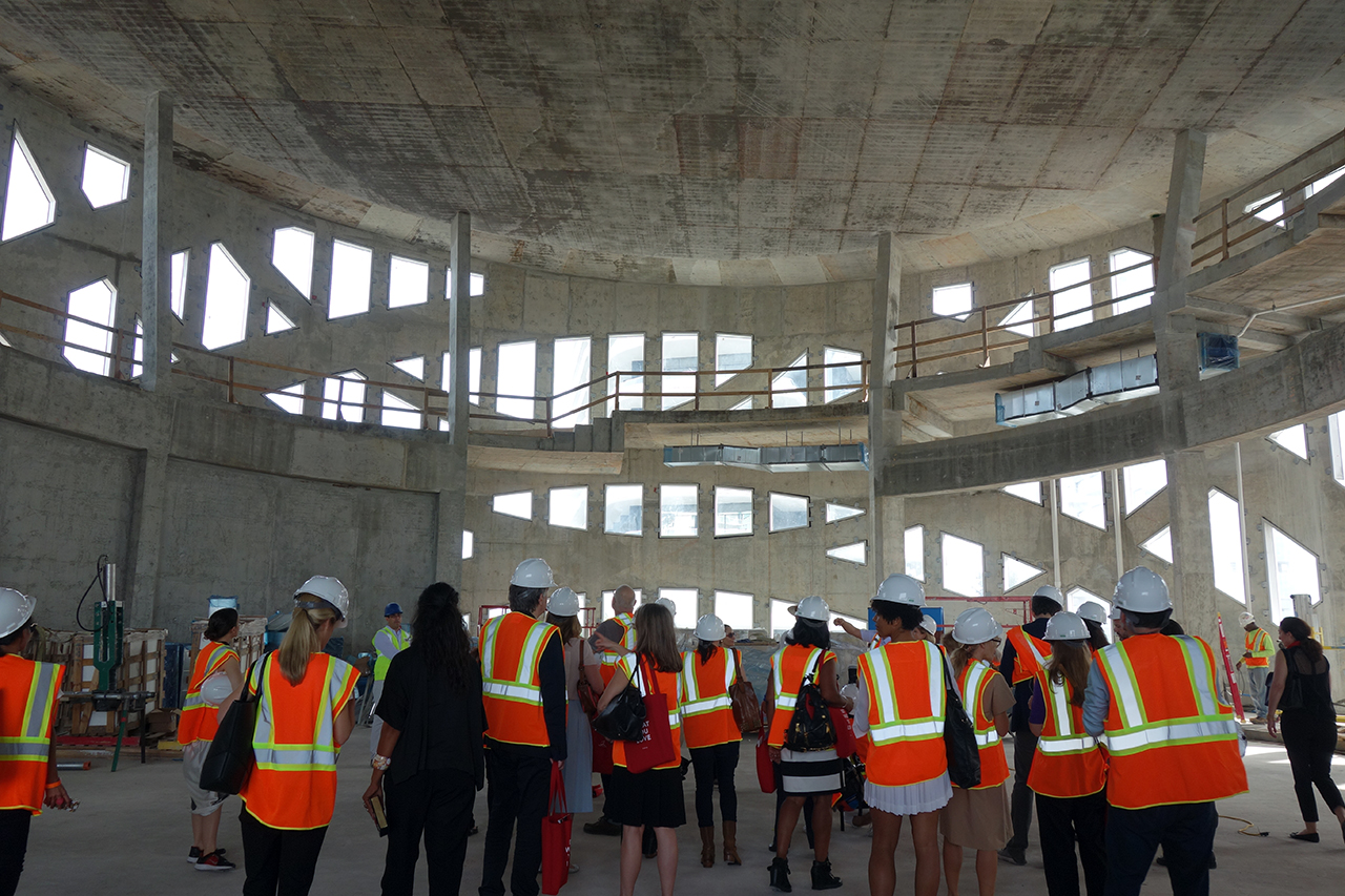 Inside the under-construction Faena Forum in Miami Beach, designed by Rem Koolhaas and OMA (all photos by the author for Hyperallergic)