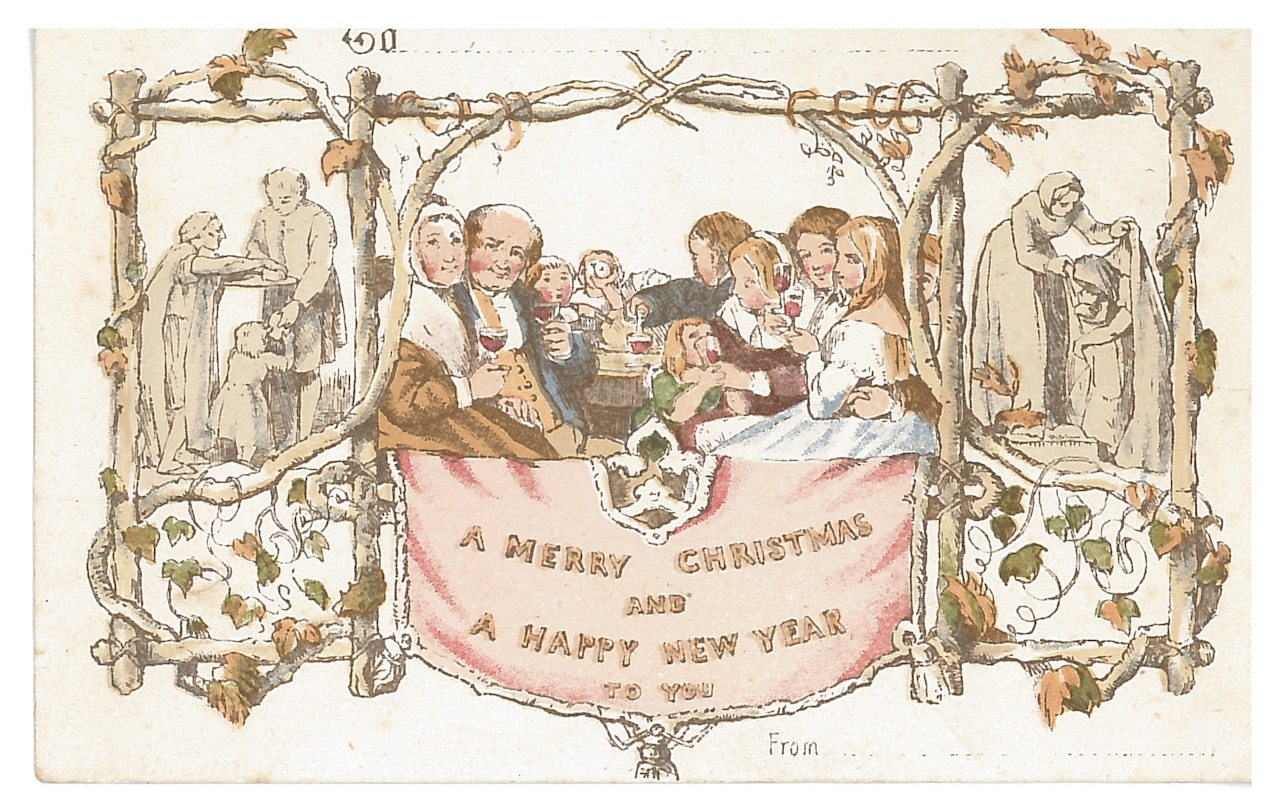 """J. C. Horsley, """"A Merry Christmas and a Happy New Year to You"""" (1881), reproduced by De la Rue & Co in 1881"""