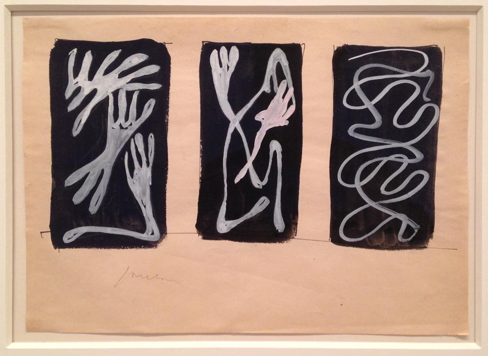 """Lucio Fontana, """"Studio per decorazione spaziale (Study for Spatial Decoration)"""" (1952), pencil, watercolor and gouache on paper, 8.3 x 11 inches."""