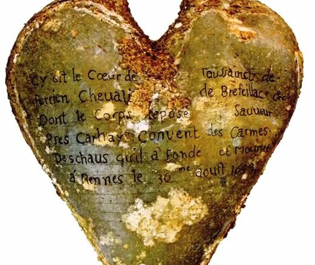 Heart-shaped lead urn with an inscription identifying the contents as the heart of Toussaint Perrien, Knight of Brefeillac.
