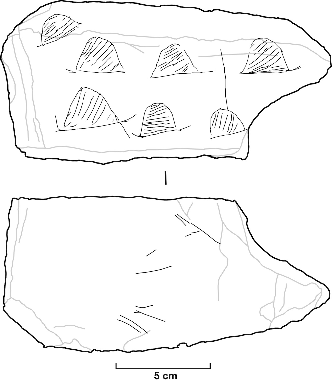 Drawing of the engraved slab.