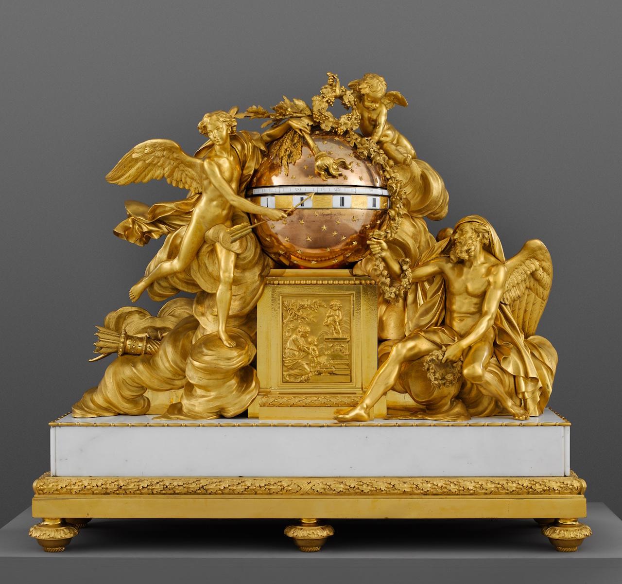 Mantel clock, Maker: Clockmaker: Jean-Baptiste Lepaute (French, 1727–1802) Modeler: Figures modeled by Augustin Pajou (French, Paris 1730–1809 Paris) Founder: Figures cast by Étienne Martincourt (French, active 1762–1800) Ca. 1780–90 Medium: Gilt bronze, marble, enamel Dimensions: Overall (Wt. confirmed): 37 x 41 x 12 1/2 in., 379lb. (94 x 104.1 x 31.8 cm, 171.9133kg) The Metropolitan Museum of Art, Gift of J. Pierpont Morgan, 1917