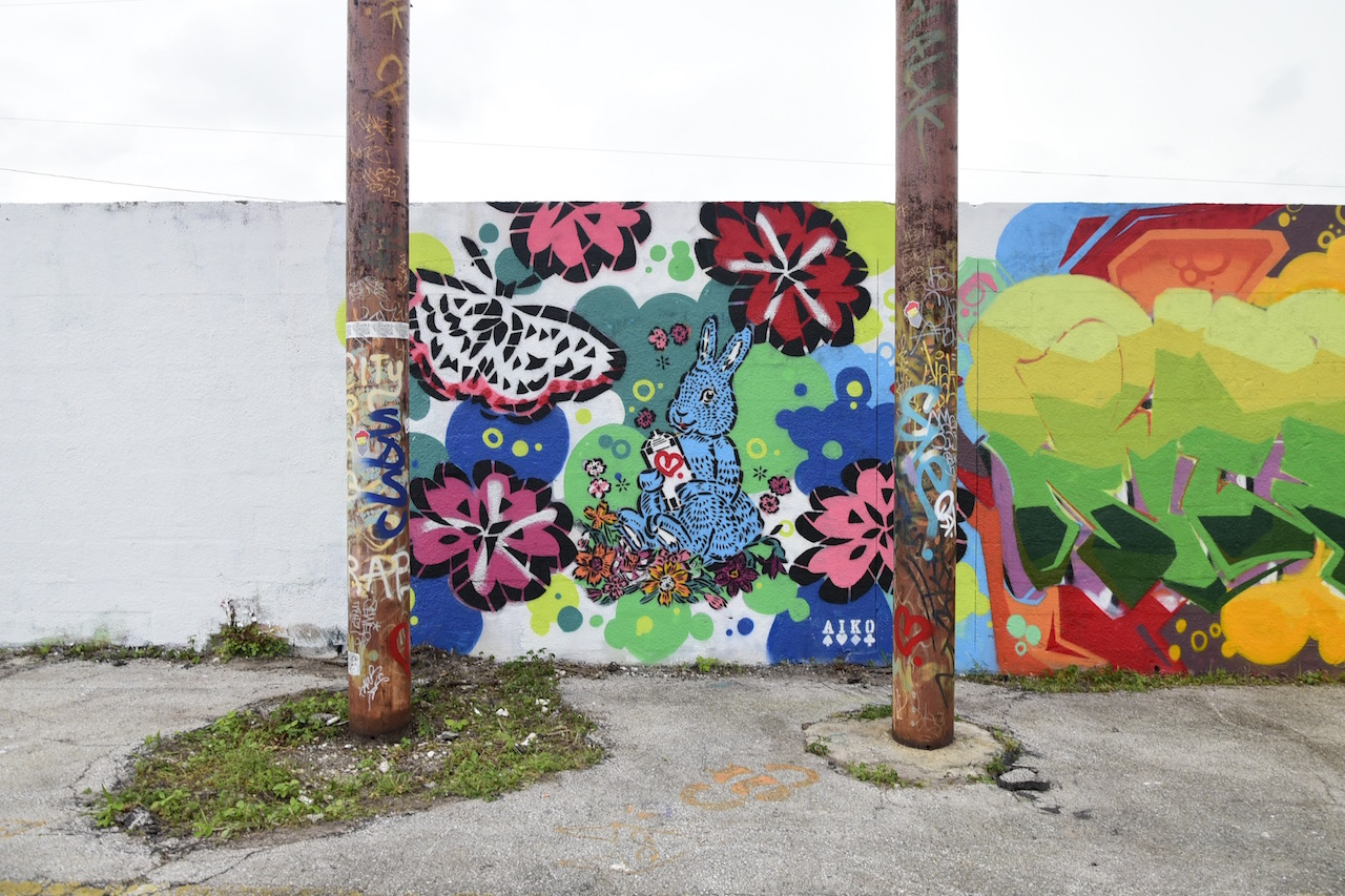 A partially filled wall at Mana Wynwood's 'Urban Art Block Party'