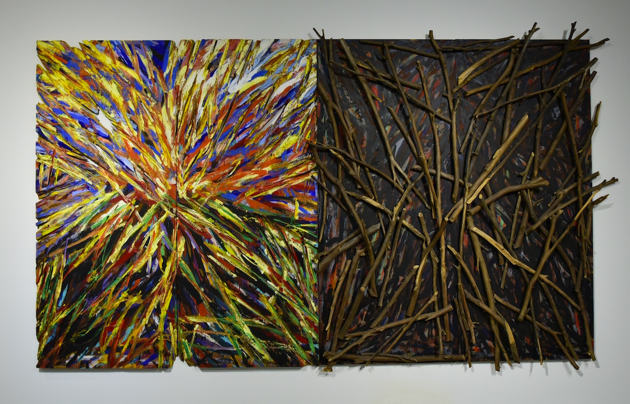 """Charles Arnoldi, """"American Standard"""" (1975, left) and Charles Arnoldi, """"Impound"""" (1985, right) in 'Made in California' at Mana Wynwood"""