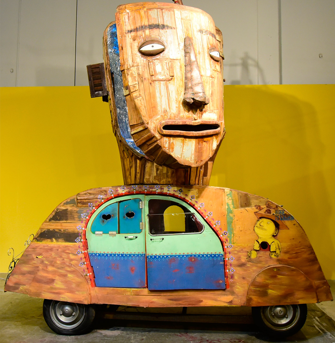A large work by Os Gemeos in 'Everything you are I am not' at Mana Wynwood