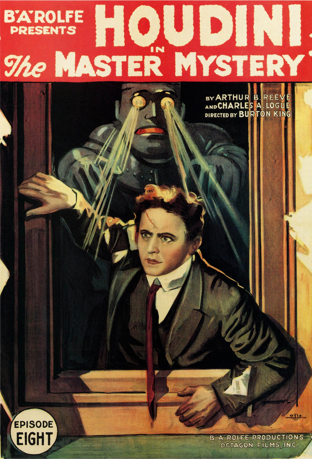 Poster for 'The Mastery Mystery' (1919) with Harry Houdini, with Q the Automaton (via Wikimedia)