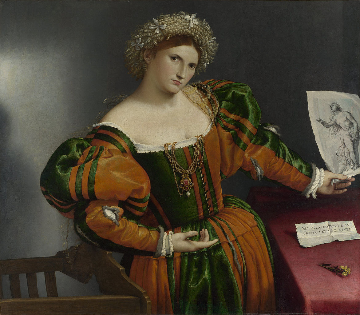 """Lorenzo Lotto, """"Portrait of a Woman inspired by Lucretia"""" (16th century), oil on canvas. (via National Gallery/Wikimedia). The image on Wikimedia through the Google Cultural Institute is one of the high resolution images of public domain art protected against new copyright."""