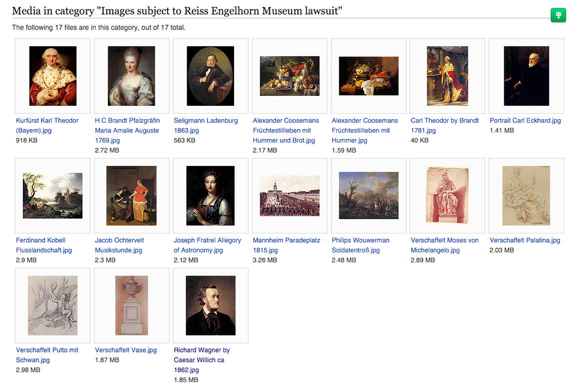 A gallery of the images that are the subject of the Reiss Engelhorn Museum lawsuit on Wikimedia Commons. (screenshot by the author)