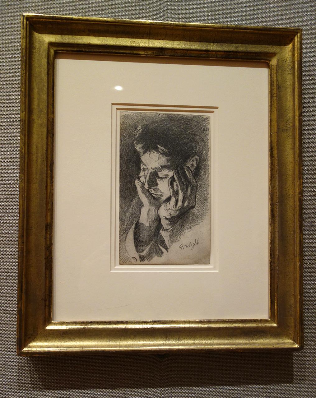 "John Singer Sargent, ""Firelight"" (1875), graphite"