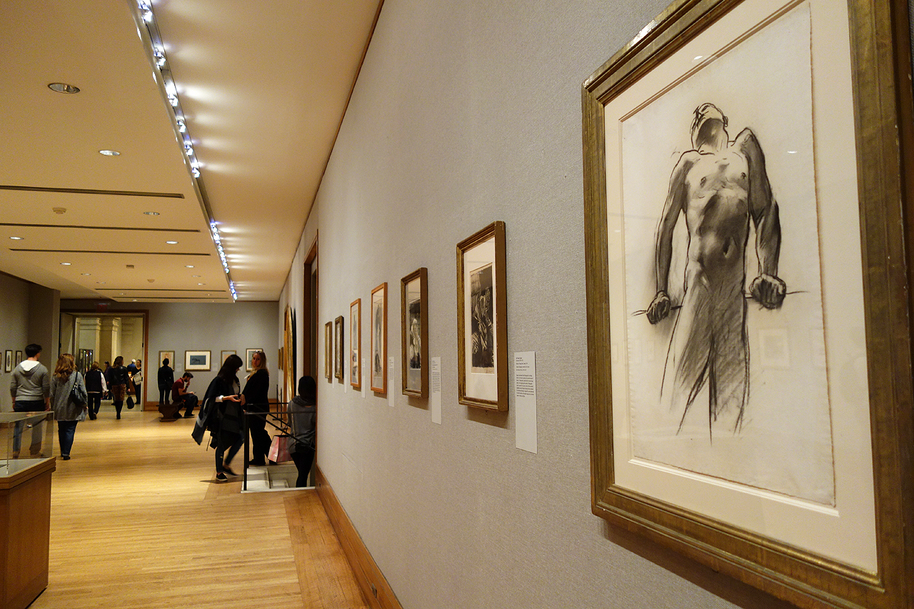 """John Singer Sargent, """"Man Standing, Head Thrown Back"""" (1890-1916), charcoal on white wove paper, installed at the Metropolitan Museum of Art (all photos by the author for Hyperallergic)"""