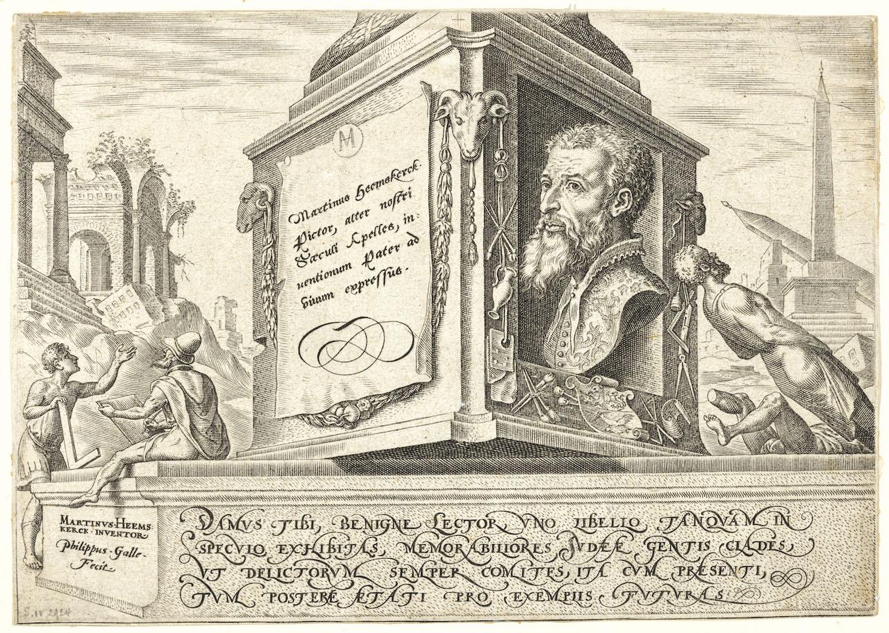 Philips Galle, d'après Maarten van Heemskerck, Judaeae gentis clades, 1569, burin : Frontispice. © Bruxelles, Bibliothèque royale de Belgique.