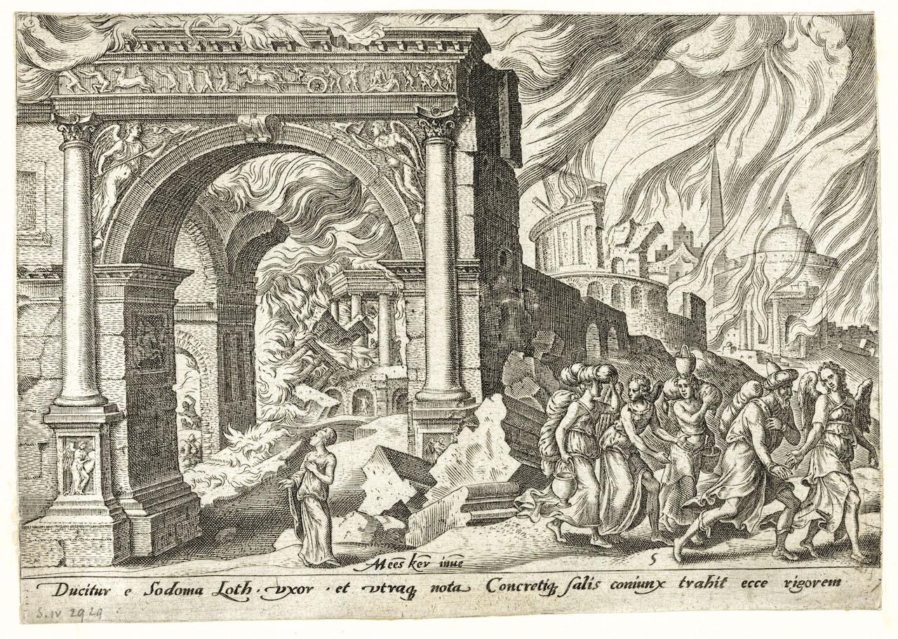 Philips Galle, d'après Maarten van Heemskerck, Judaeae gentis clades, 1569, burin : Loth et sa famille fuyant Sodome en flammes (pl. 5). © Bruxelles, Bibliothèque royale de Belgique.