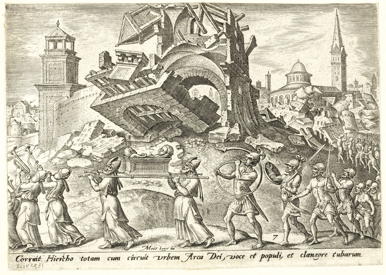 Philips Galle, d'après Maarten van Heemskerck, Judaeae gentis clades, 1569, burin : La prise de Jéricho (pl. 7). © Bruxelles, Bibliothèque royale de Belgique.