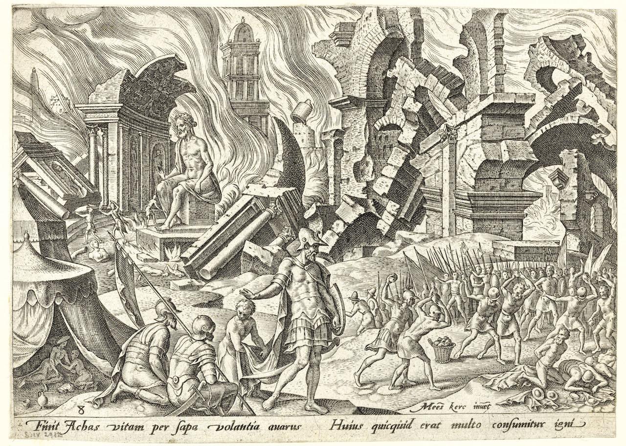 Philips Galle, d'après Maarten van Heemskerck, Judaeae gentis clades, 1569, burin : Le sac de Jéricho et la punition d'Akân (pl. 8). © Bruxelles, Bibliothèque royale de Belgique.