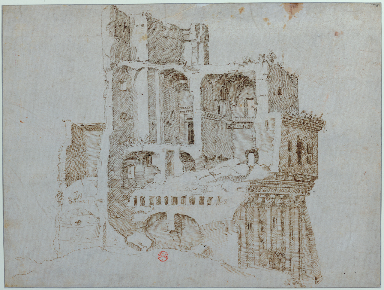 Maarten van Heemskerck, Les ruines de la Casa dei Crescenzi, entre 1532 et 1536, dessin. © Paris, Bibliothèque nationale de France.