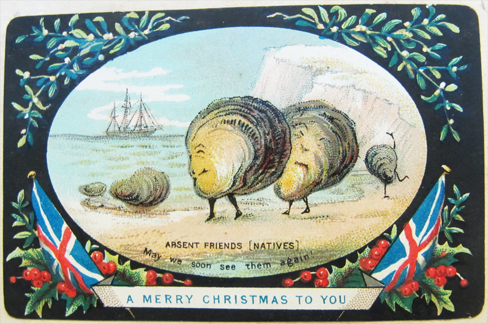"""""""Absent friends [natives, may we soon see them again! A merry Christmas to you"""" (1876) (via National Library of Ireland/Flickr)"""