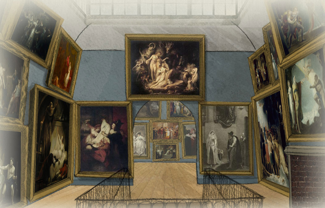 The digital recreation of the 1796 Shakespeare Gallery on What Jane Saw from the University of Texas at Austin (all screenshots by the author for Hyperallergic)