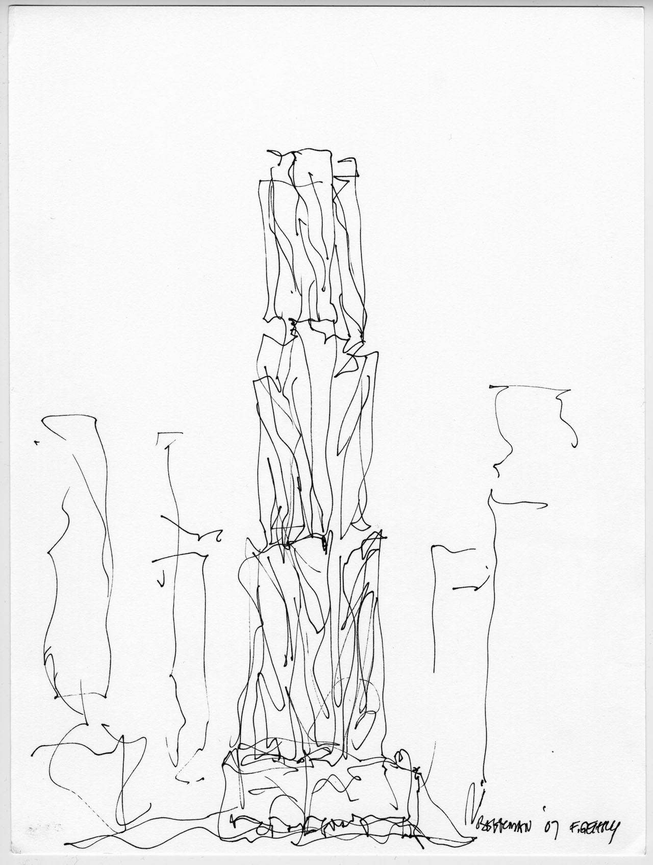 Frank Gehry, 8 Spruce Street Design, sketch and volume study, New York, New York (2007) (Collection Frank Gehry, Los Angeles ©2015 Gehry Partners, LLP, image courtesy Gehry Partners)