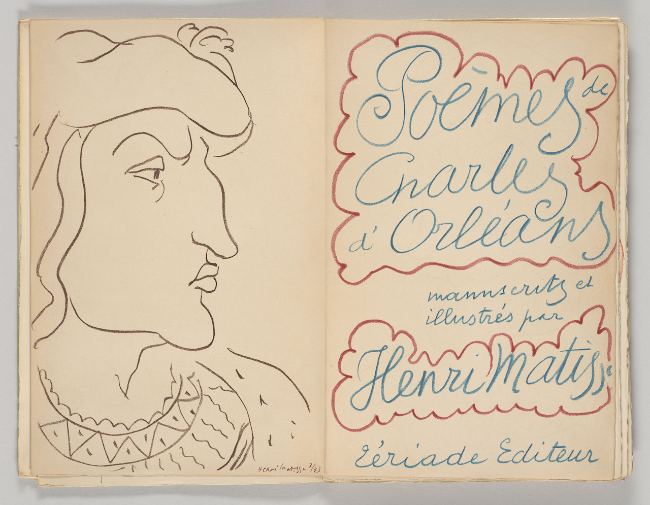 Henri Matisse, frontispiece and title page, 'Poèmes de Charles d'Orléans. Paris: Tériade Éditeur' (1950) (Frances and Michael Baylson Collection, The Morgan Library & Museum, © 2015 Succession H. Matisse / Artists Rights Society (ARS), New York, photography by Graham S. Haber, 2015)