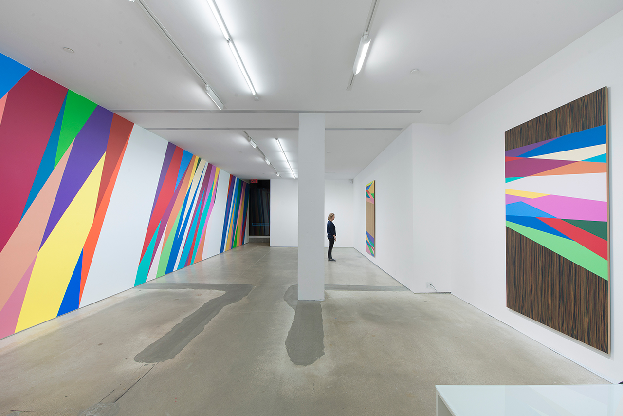 Installation view, 'Odili Donald Odita: The Velocity of Change' at Jack Shainman Gallery (all images © Odili Donald Odita, courtesy the artist and Jack Shainman Gallery, New York) (click to enlarge)