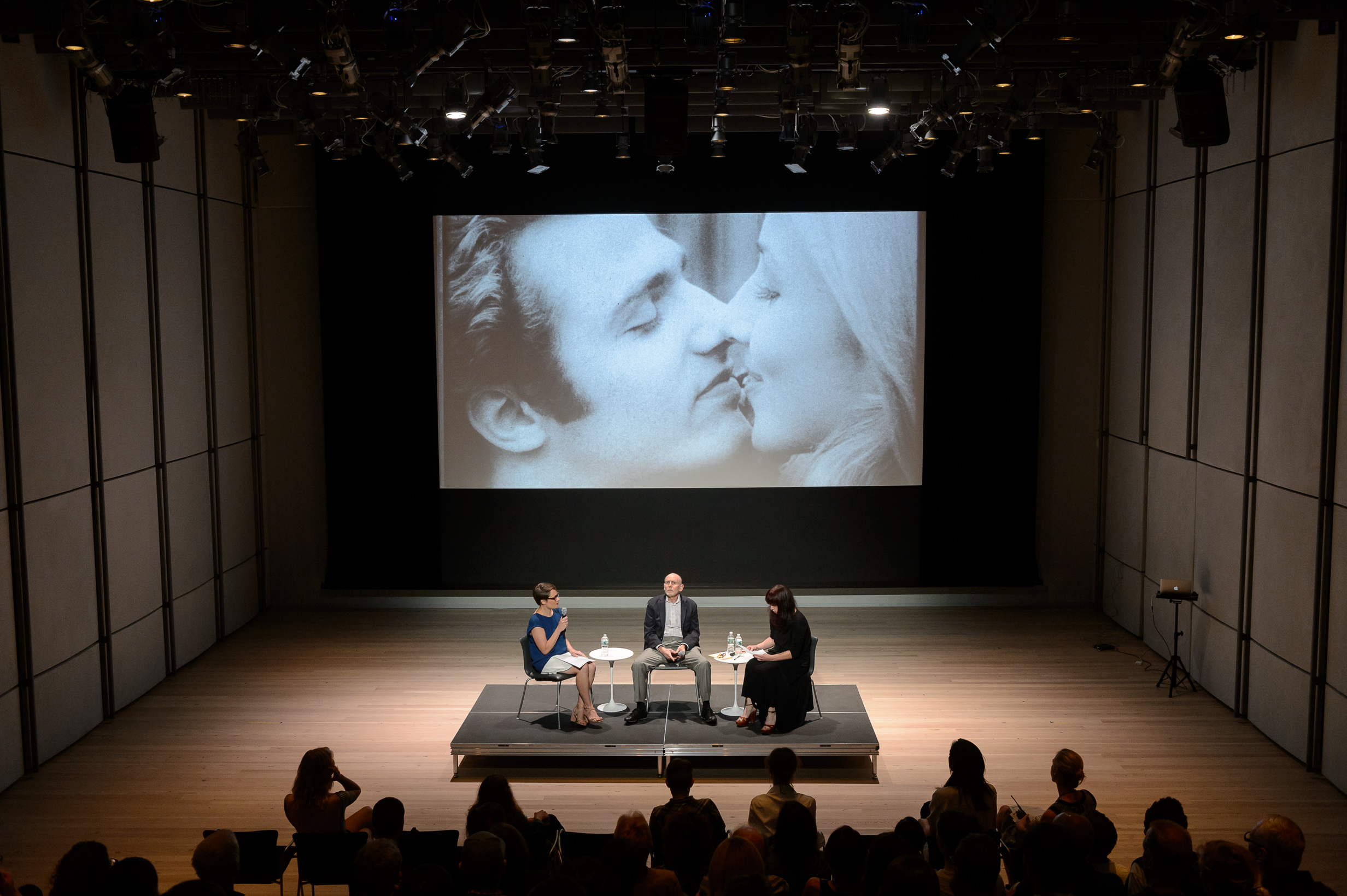Conversation with Alex Bag, Bruce Jenkins, and Claire Henry following a screening of Andy Warhol's film Soap Opera (1964) in the Laurie M. Tisch Education Center, 2015. Photo by Filip Wolak