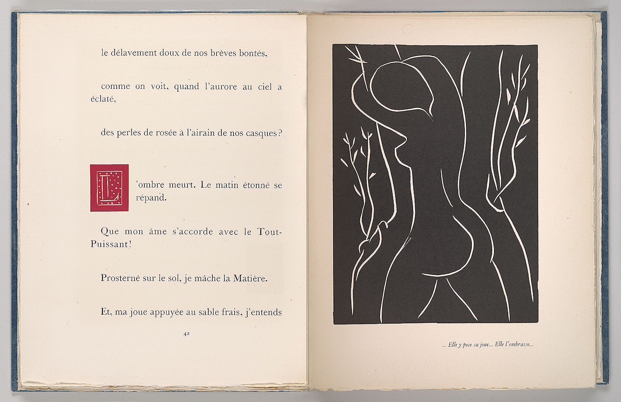 Henri Matisse, linocut illustration and initial in Henry de Montherlant (1895–1972), Pasiphaé, Chant de Minos (Les Crétois) (Paris: Martin Fabiani, 1944. Frances and Michael Baylson Collection, The Morgan Library & Museum, © 2015 Succession H. Matisse / Artists Rights Society (ARS), New York, photography by Graham S. Haber, 2015)