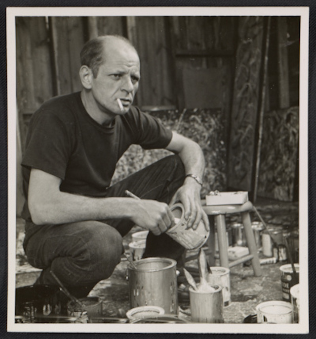 "Rudy Burckhardt, ""Jackson Pollock holding a can of paint"" (1950) (courtesy of the Archives of American Art, Smithsonian Institution)"