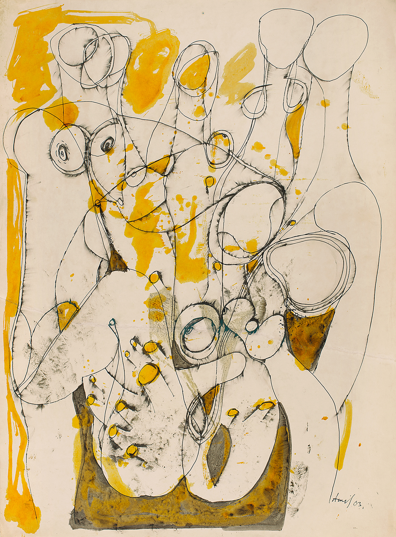 """Avinash Chandra, """"Untitled"""" (1963), waterproof ink and pen and ink on paper pasted on paper, 29.7 x 21.5 inches (click to enlarge)"""