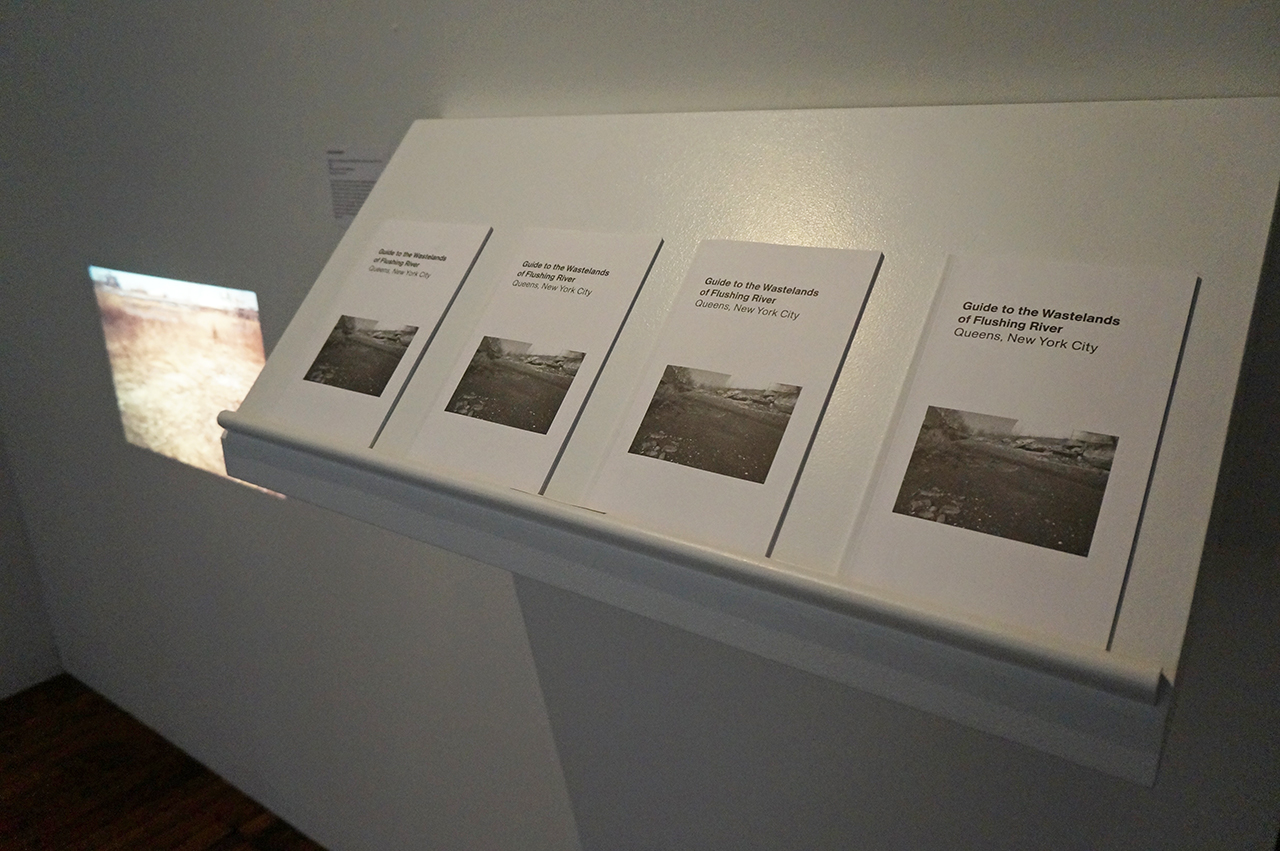 "Lara Almarcegui, ""Guide to the Wastelands of Flushing River, Queens, New York City"" (2010), slide projection and publication (click to enlarge)"