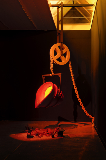 """Ericka Beckman, """"The Forge Bucket and Chain Prop"""" 1986), Wood, styrofoam, cardboard, paper mache, paint, Dimensions Variable via http://www.cherryandmartin.com/exhibitions/190"""