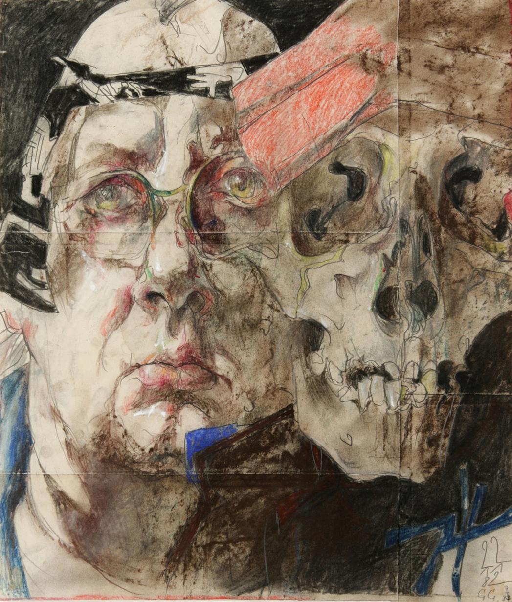 """Horst Janssen, """"Self Portrait with Skull"""" (1982) (©VG BILD-Kunst, Bonn & JASPAR, Tokyo 2015 C0732)"""