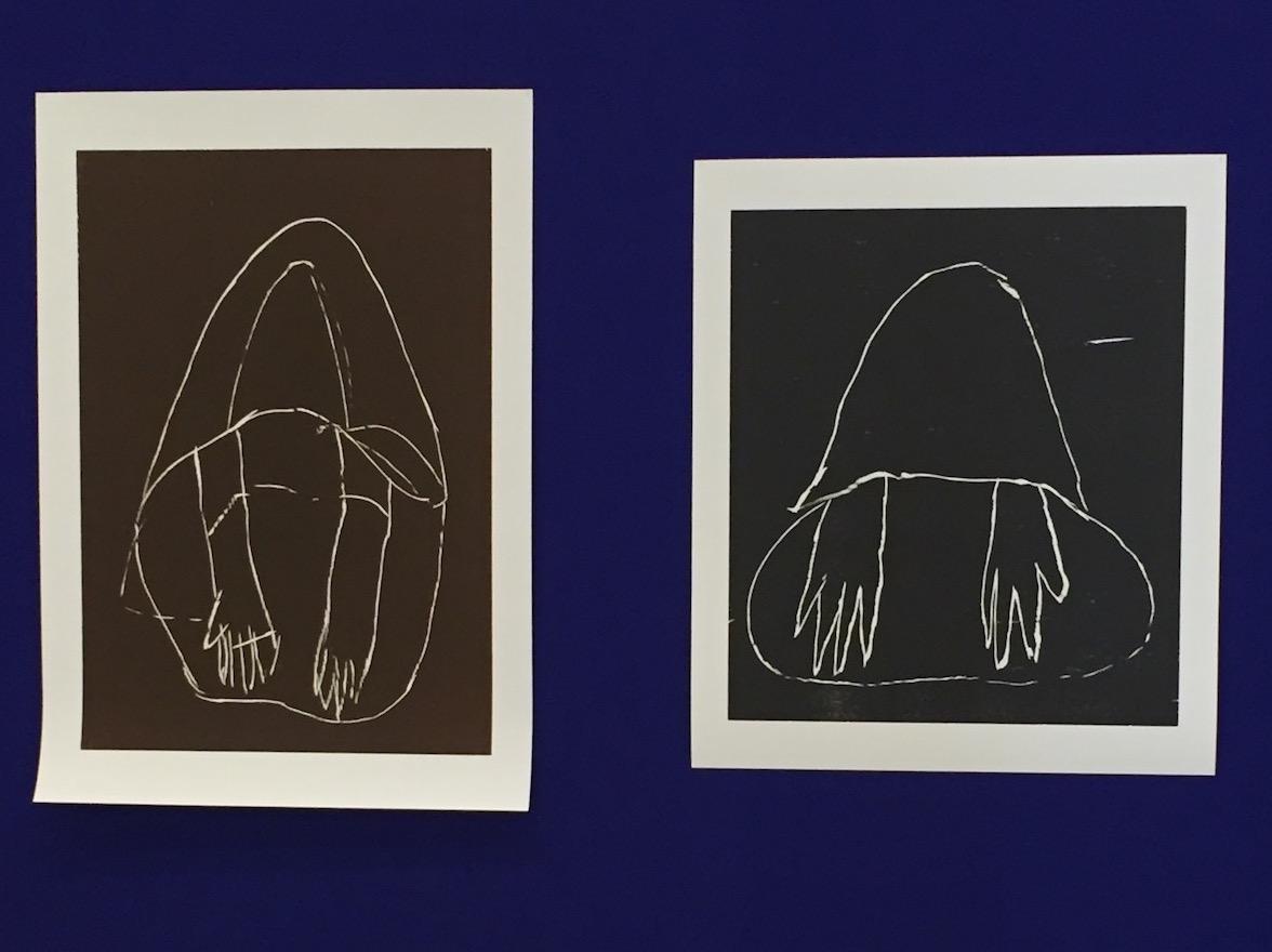 """Beggar"" and ""Beggar"", both 2015, woodcuts"
