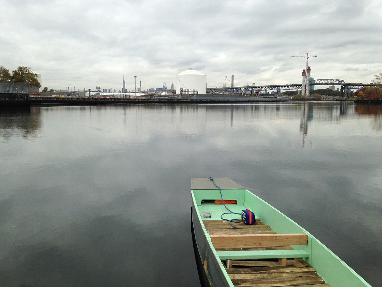 One of Dylan Gauthier's homemade boats on Newtown Creek