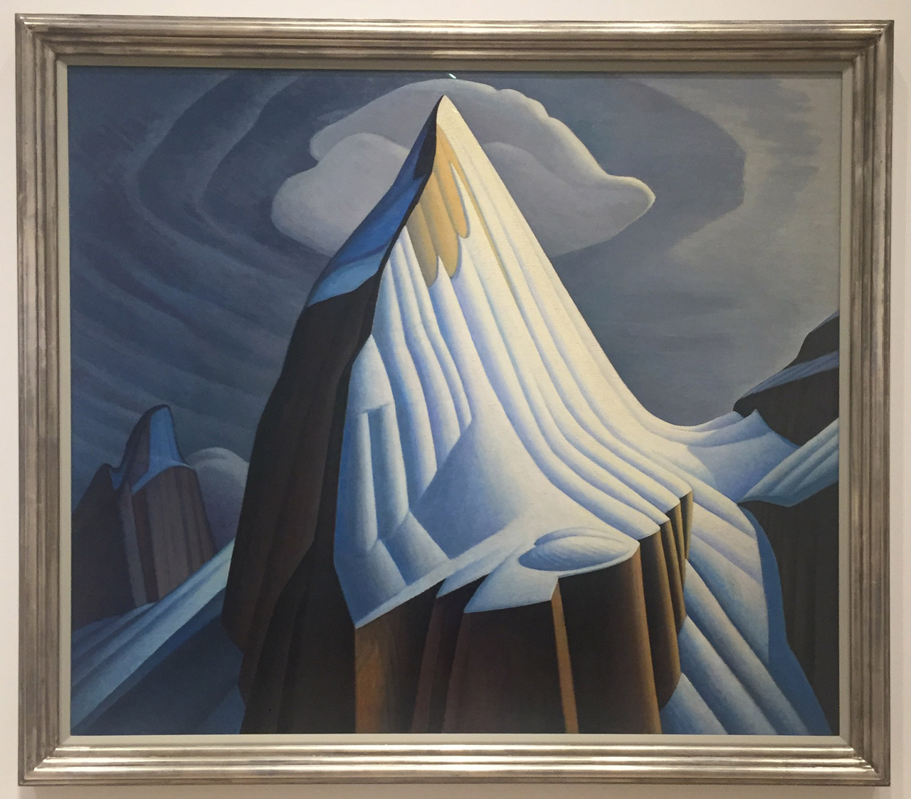"""Lawren Harris, """"Mt. Lefroy"""" (1930), oil on canvas, 52.5 x 60.4 in (133.5 x 153.5 cm), McMichael Canadian Art Collection (all photos by the author for Hyperallergic)"""