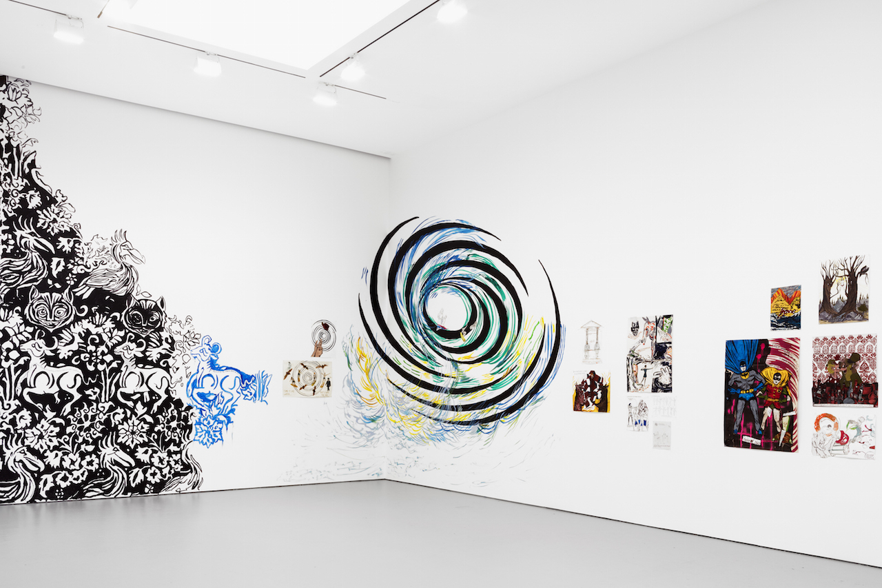 Marcel Dzama and Raymond Pettibon Installation view from the 2016 solo exhibition Forgetting the Hand at David Zwirner, New York