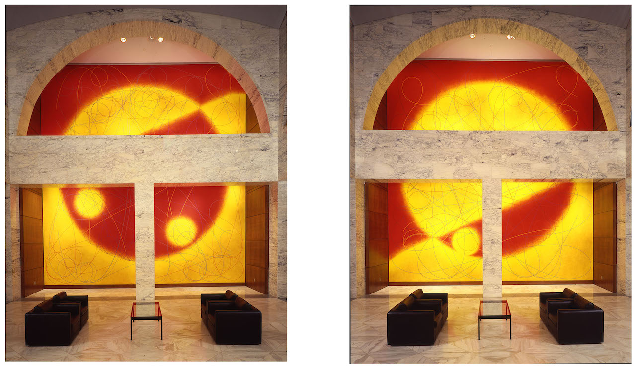 """Dorothea Rockburne, """"Northern Sky"""" (left) and """"Souther Sky"""" (right) (1993) (Lascaux Aquacryl paint, Berol pencils, Artstix, and UV protective finish) (courtesy the artist)"""