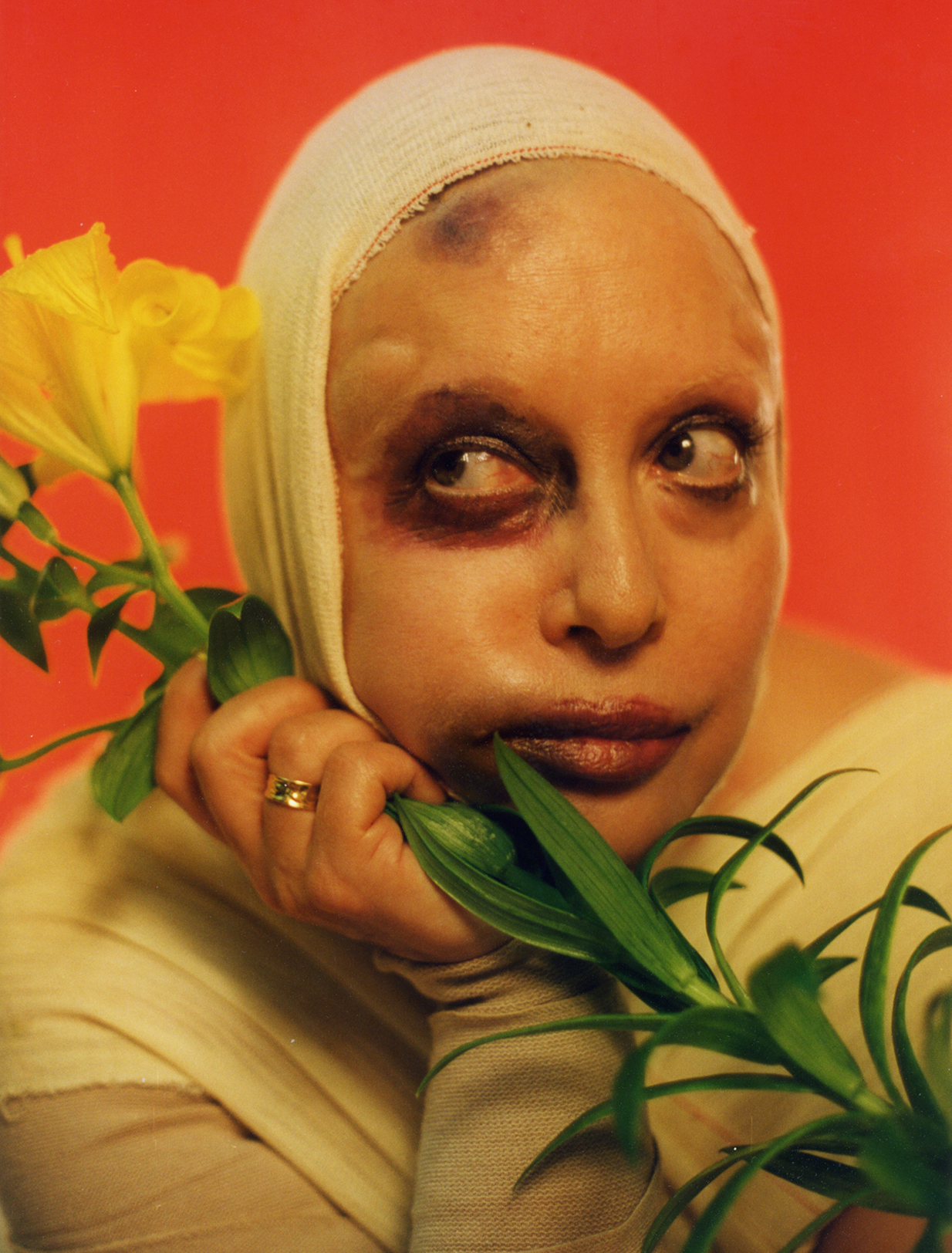 Orlan, photographed in 1997 (image via Wikipedia) (click to enlarge)