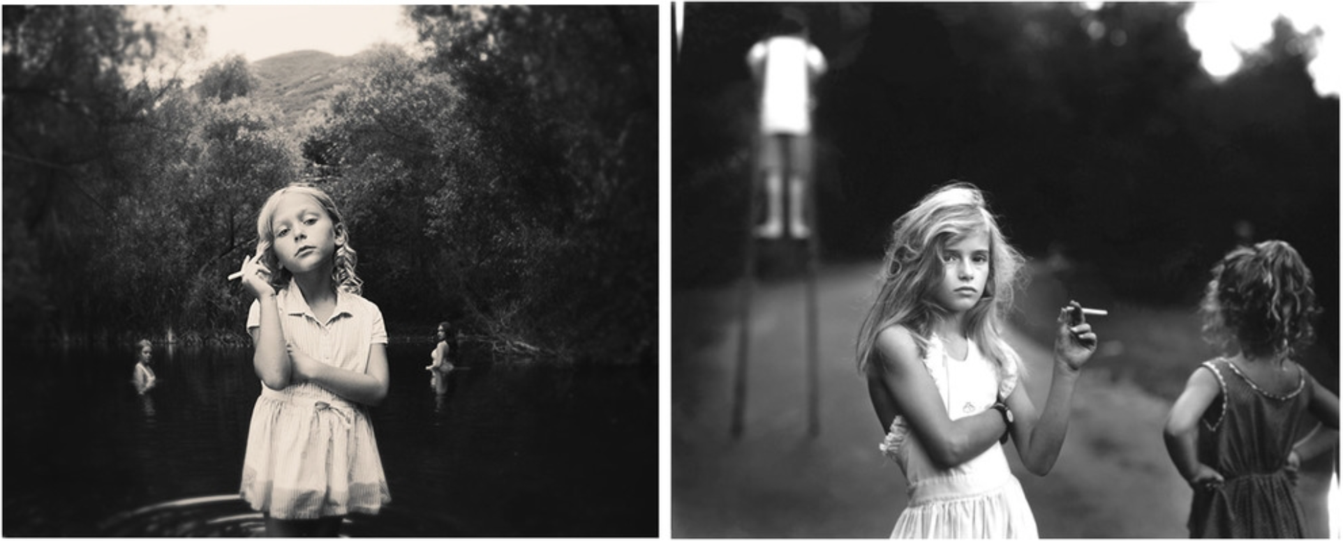 Is photographer Tyler Shields just ripping off other photographers? Vice's Jamie Lee Curtis Taete considers the question. Left, Tyler Shields, 2014. Right, Sally Mann, 1989. (via Vice)