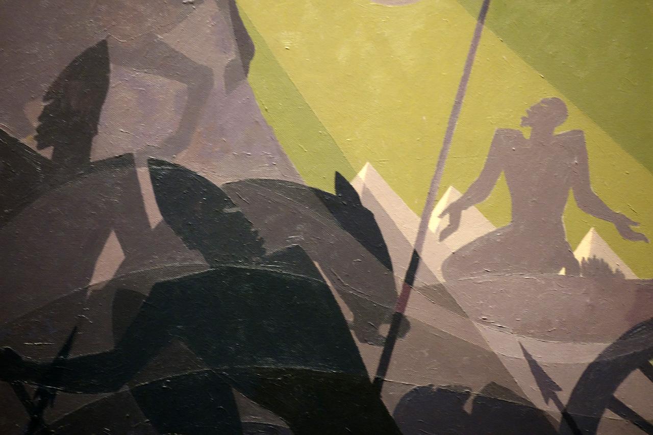 "Detail of Aaron Douglas, ""Let My People Go"" (1935-39), oil on masonite"
