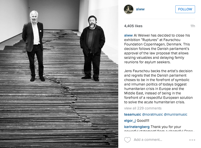 Ai Weiwei's Instagram announcing his withdrawal of his exhibition from the Faurschou Foundation (screenshot via @aiww/Instagram)