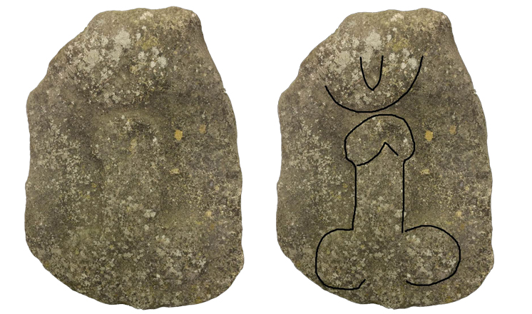 The Braceby carving with a digitally rendered outline (all images courtesy of The Collection: Art and Archaeology in Lincolnshire )
