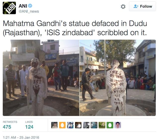 The vandalized Gandhi statue in Dudu (screenshot via @ANI_news/Twitter)