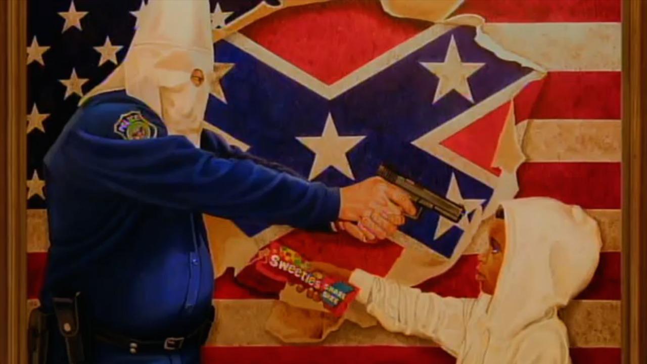 "Michael D'Antuono's ""A Tale of Two Hoodies (Racism)"" (screenshot via TK)"