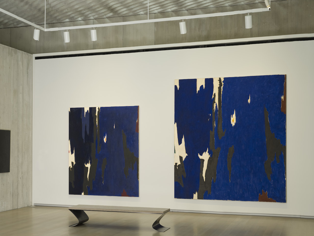 """Installation view of 'Repeat/Recreate' at the Clyfford Still Museum with """"PH-268"""" (1955, left, Clyfford Still Museum © City and County of Denver"""" and """"PH-921"""" (1955, right, Clyfford Still Museum © City and County of Denver) (all photos courtesy the Clyfford Still Museum unless indicated otherwise)"""