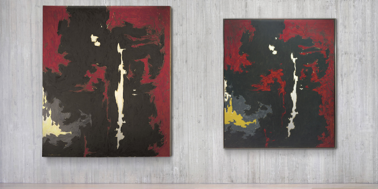 """Installation view of 'Repeat/Recreate' at the Clyfford Still Museum with """"PH-89"""" (1949, left, private collection © City and County of Denver) and """"PH-177"""" (1949, right, Glenstone) (photo by Tim Nighswander/Imaging4Art.com © City and County of Denver / ARS, NY)"""