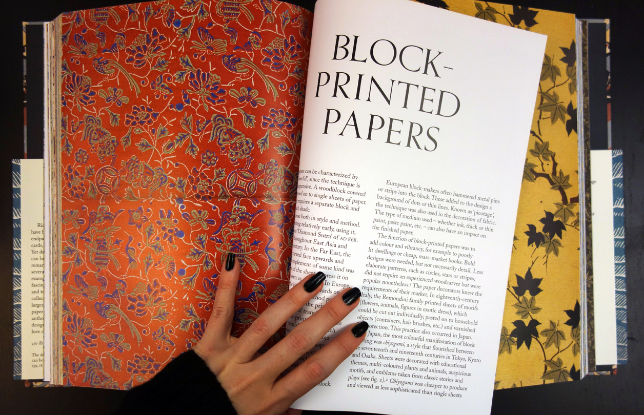 Pages from 'An Anthology of Decorated Papers' (photo of the book for Hyperallergic)