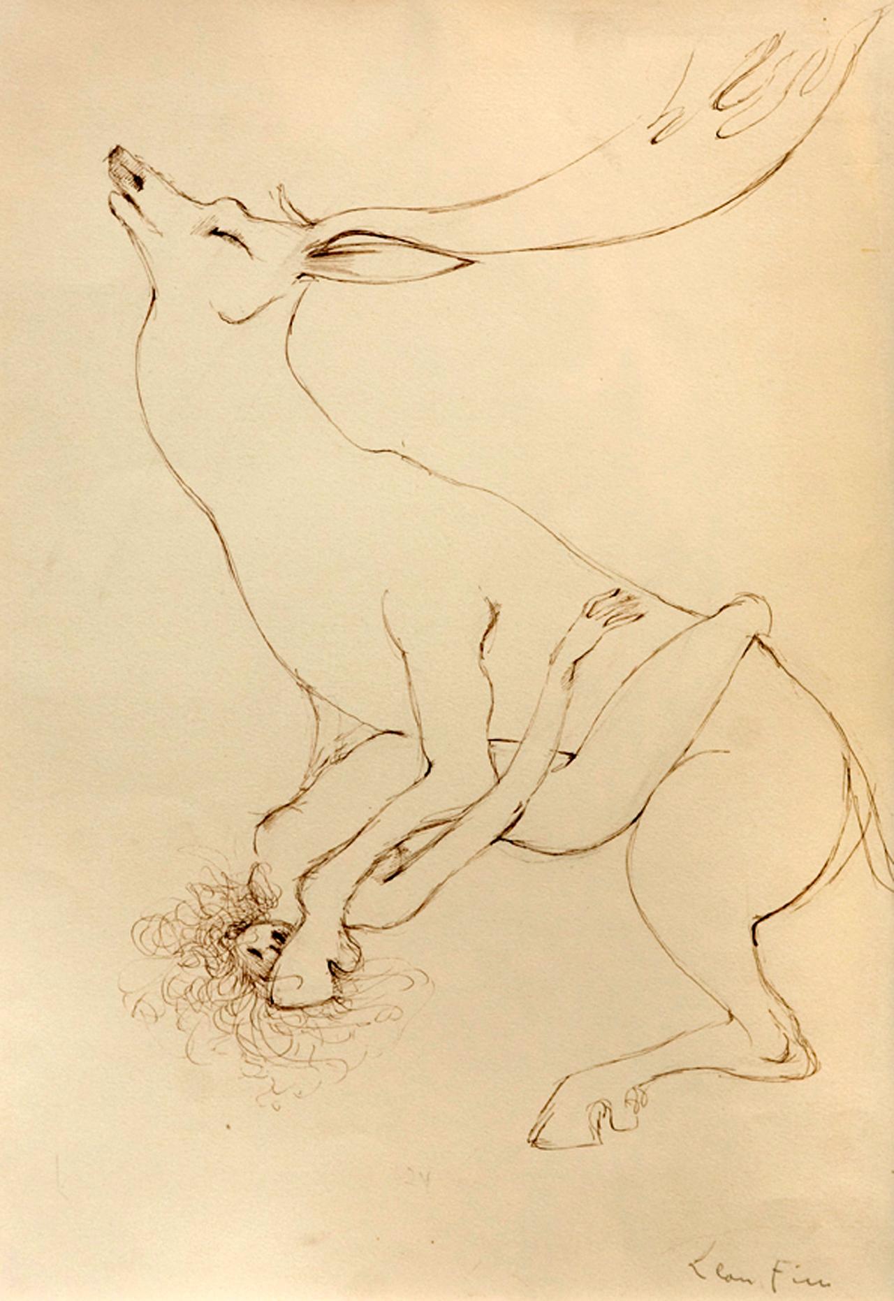 """Leonor Fini, """"Cerf et Femme Erotique"""" (1967)"""